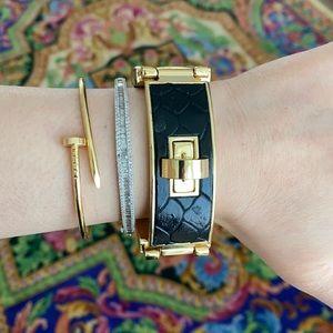 Black leather w/ gold tone buckle CCSkye bracelet